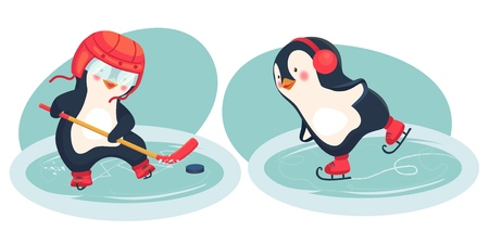 Penguin hockey player and penguin skater. Childrens sports concept. Active penguins. Vector illustration.