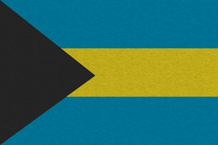 Bahamas flag painted on on paper. Patriotic background. National flag of Bahamas