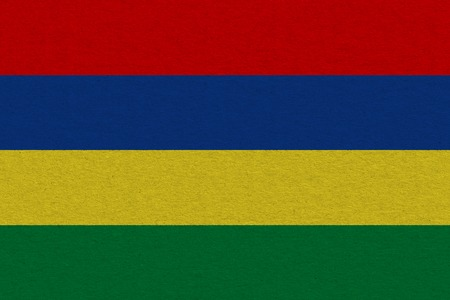Mauritius flag painted on paper. Patriotic background. National flag of Mauritius