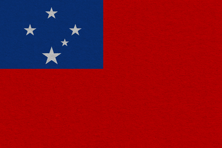 Samoa flag painted on paper. Patriotic background. National flag of Samoa Stock Photo