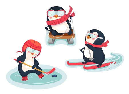 Winter sports. Childrens sports concept. Active penguins in winter. Vector illustration.