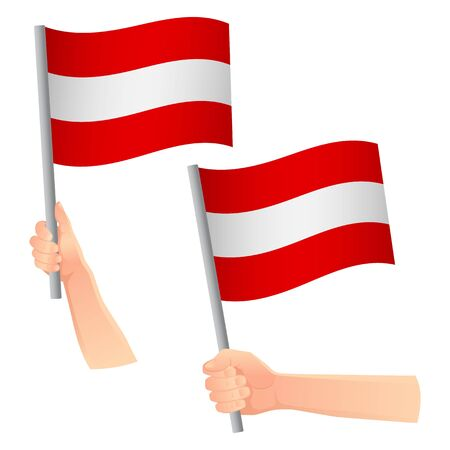 Austria flag in hand. Patriotic background. National flag of Austria vector illustration