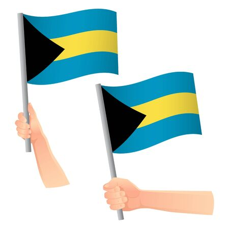 Bahamas flag in hand. Patriotic background. National flag of Bahamas vector illustration Ilustrace