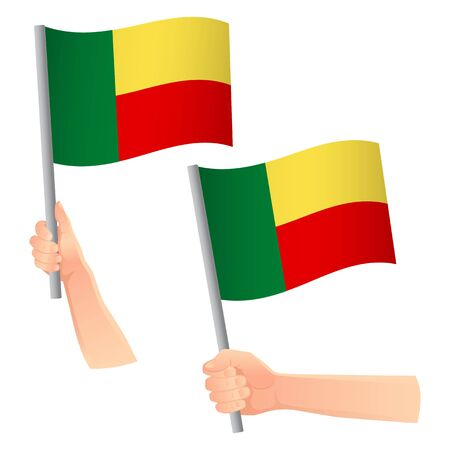Benin flag in hand. Patriotic background. National flag of Benin vector illustration