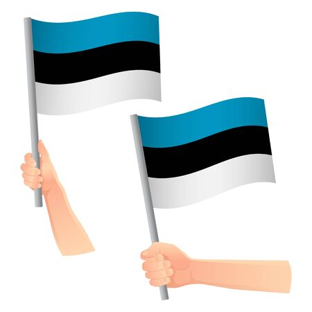 Estonia flag in hand. Patriotic background. National flag of Estonia vector illustration Ilustração