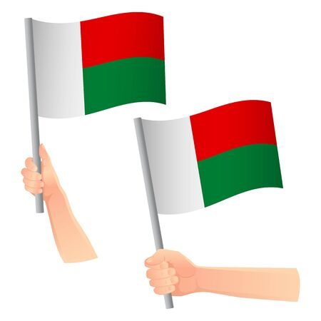 Madagascar flag in hand. Patriotic background. National flag of Madagascar vector illustration