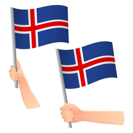 Iceland flag in hand. Patriotic background. National flag of Iceland vector illustration Ilustração