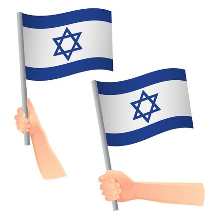 Israel flag in hand. Patriotic background. National flag of Israel vector illustration Ilustração
