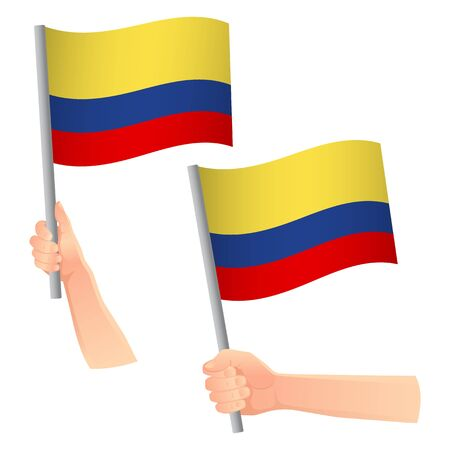 Colombia flag in hand. Patriotic background. National flag of Colombia vector illustration