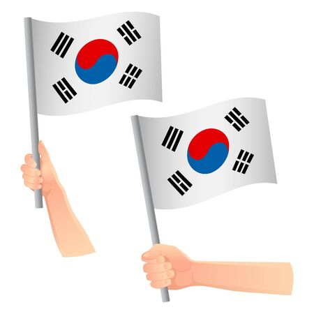 South korea flag in hand. Patriotic background. National flag of South korea vector illustration Ilustração
