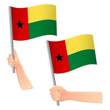 Guinea-Bissau flag in hand. Patriotic background. National flag of Guinea-Bissau vector illustration