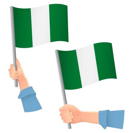 Nigeria flag in hand. Patriotic background. National flag of Nigeria vector illustration Illustration