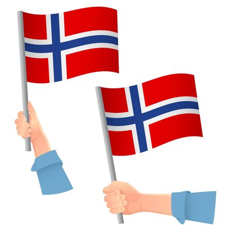 Norway flag in hand. Patriotic background. National flag of Norway vector illustration