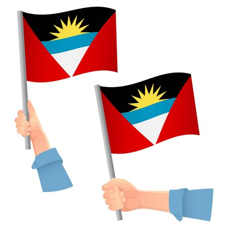 Antigua and Barbuda flag in hand. Patriotic background. National flag of Antigua and Barbuda vector illustration Ilustração