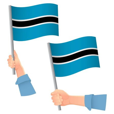 Botswana flag in hand. Patriotic background. National flag of Botswana vector illustration Ilustração
