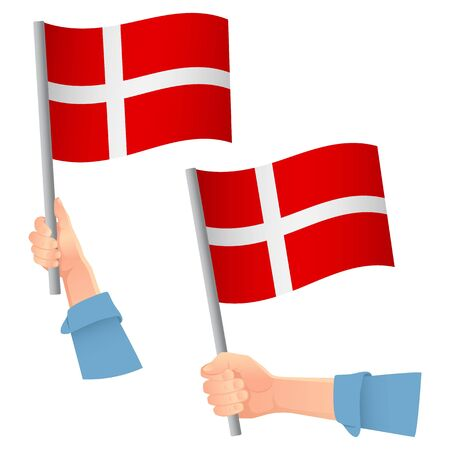 Denmark flag in hand. Patriotic background. National flag of Denmark vector illustration