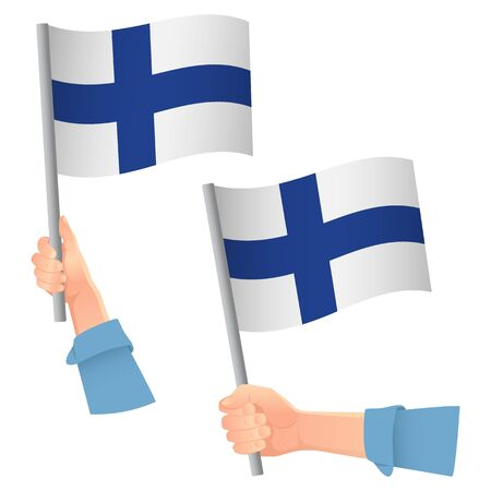 Finland flag in hand. Patriotic background. National flag of Finland vector illustration