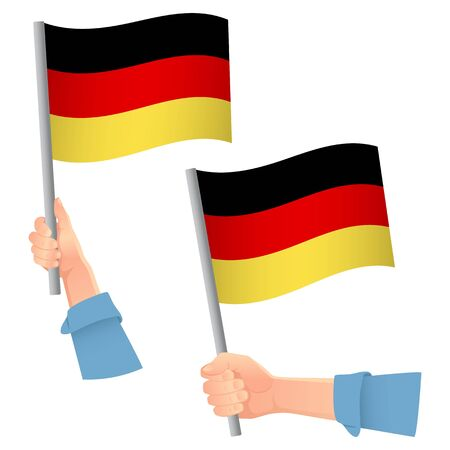 Germany flag in hand. Patriotic background. National flag of Germany vector illustration