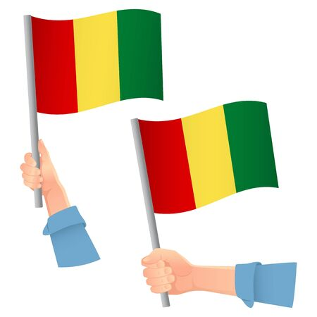 Guinea flag in hand. Patriotic background. National flag of Guinea vector illustration
