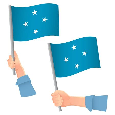 Micronesia flag in hand. Patriotic background. National flag of Micronesia vector illustration Ilustração