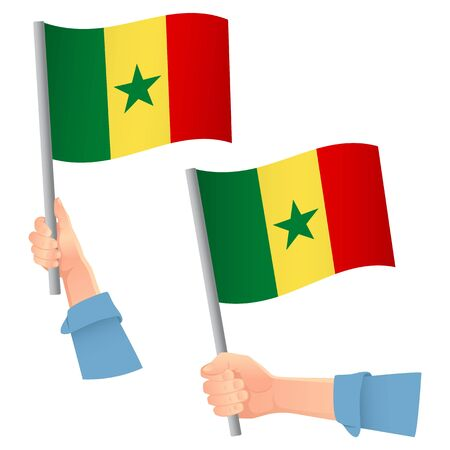 Senegal flag in hand. Patriotic background. National flag of Senegal vector illustration