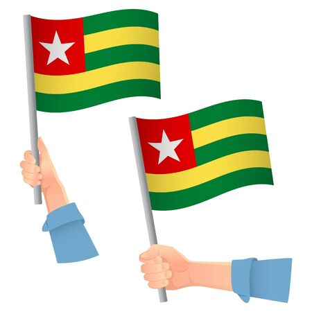 Togo flag in hand. Patriotic background. National flag of Togo vector illustration