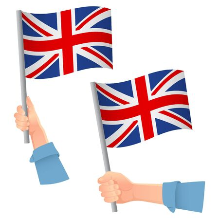 United Kingdom flag in hand. Patriotic background. National flag of United Kingdom vector illustration