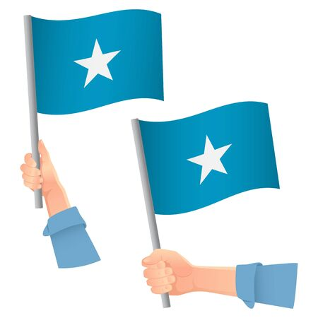 Somalia flag in hand. Patriotic background. National flag of Somalia vector illustration Ilustração