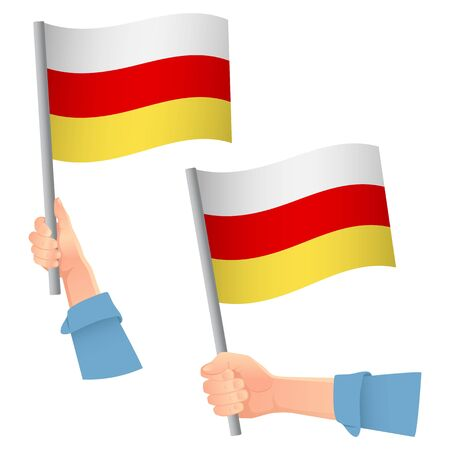South ossetia flag in hand. Patriotic background. National flag of South ossetia vector illustration Ilustração