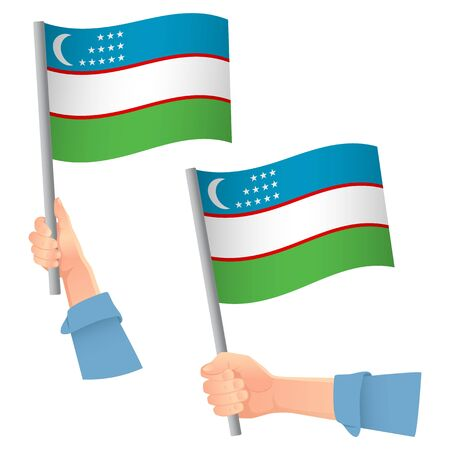 Uzbekistan flag in hand. Patriotic background. National flag of Uzbekistan vector illustration Ilustração