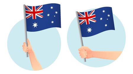 Australia flag in hand. Patriotic background. National flag of Australia vector illustration Ilustração