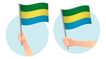 Gabon flag in hand. Patriotic background. National flag of Gabon vector illustration