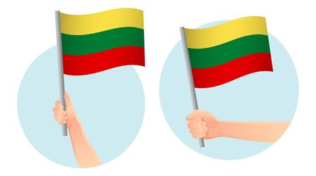 lithuania flag in hand. Patriotic background. National flag of lithuania vector illustration