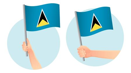 Saint Lucia flag in hand. Patriotic background. National flag of Saint Lucia vector illustration Ilustração