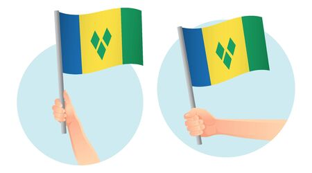 Saint Vincent and the Grenadines flag in hand. Patriotic background. National flag of Saint Vincent and the Grenadines vector illustration Ilustração