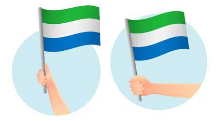 Sierra leone flag in hand Patriotic background. National flag of Sierra leone vector illustration