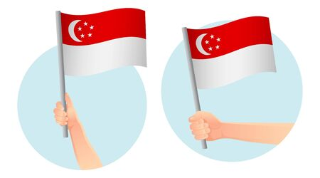 Singapore flag in hand. Patriotic background. National flag of Singapore vector illustration  イラスト・ベクター素材