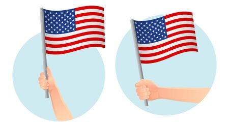 United States of America flag in hand. Patriotic background. National flag of United States of America vector illustration Ilustração