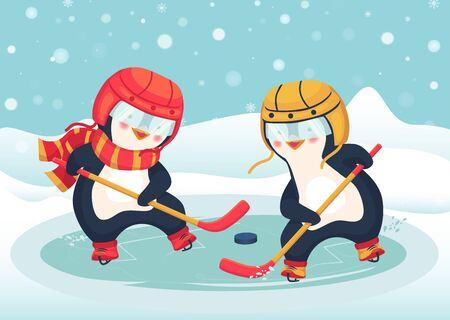 Childrens sports concept. Penguin play ice hockey in the winter. Kids hockey. Vector illustration Ilustracja