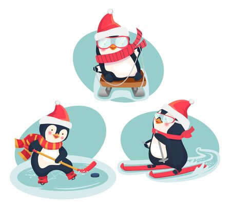 Christmas penguins in winter. Winter sports. Childrens sports concept. Vector illustration. Ilustracja