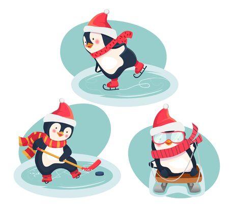 Boże Narodzenie pingwiny w zimie. Sporty zimowe. Koncepcja sportu dla dzieci. Ilustracja wektorowa. Ilustracje wektorowe