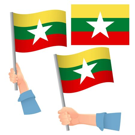 Burma flag in hand. Patriotic background. National flag of Burma vector illustration Ilustração