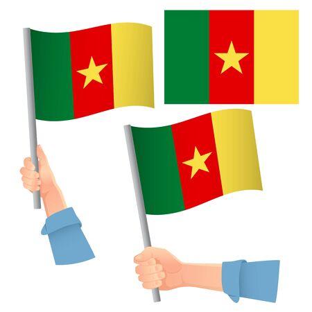 Cameroon flag in hand. Patriotic background. National flag of Cameroon vector illustration Ilustração