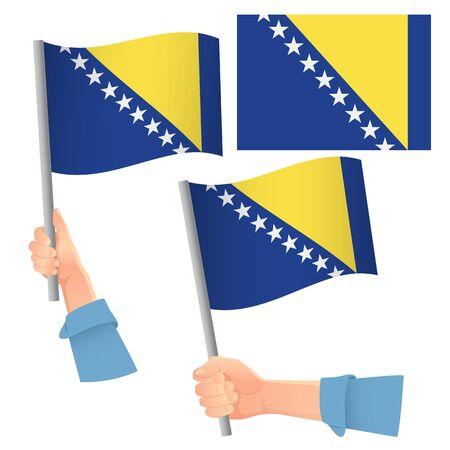 Bosnia and Herzegovina flag in hand. Patriotic background. National flag of Bosnia and Herzegovina vector illustration