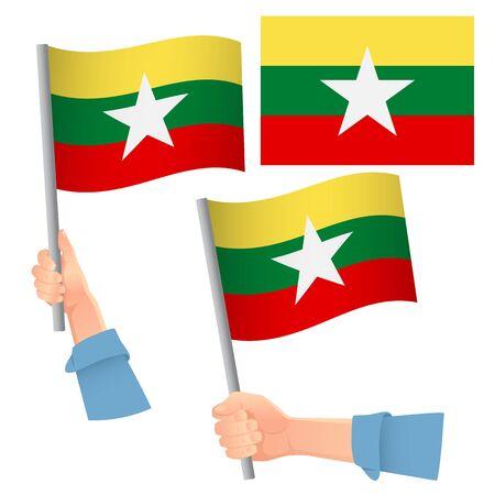 Myanmar flag in hand. Patriotic background. National flag of Myanmar vector illustration