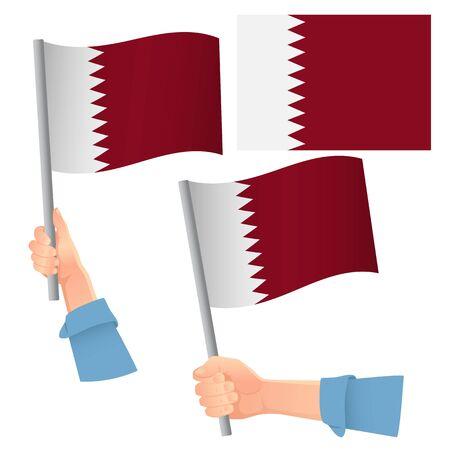 Qatar flag in hand. Patriotic background. National flag of Qatar vector illustration Illustration