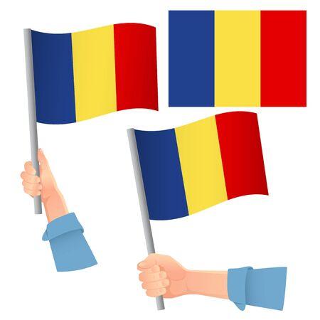 Romania flag in hand. Patriotic background. National flag of Romania vector illustration Illustration