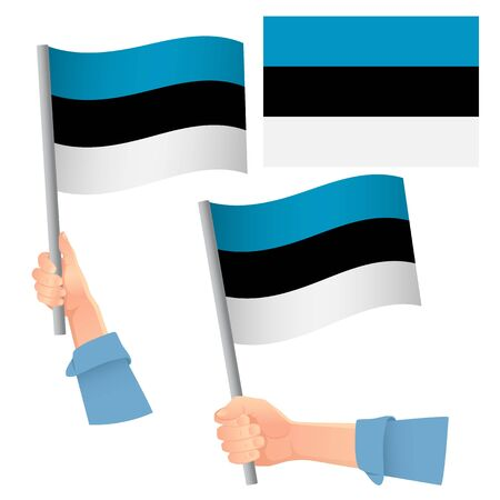 Estonia flag in hand. Patriotic background. National flag of Estonia vector illustration 向量圖像