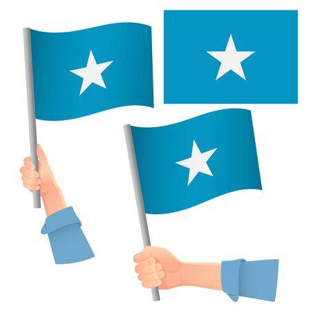 Somalia flag in hand. Patriotic background. National flag of Somalia vector illustration Stock Illustratie