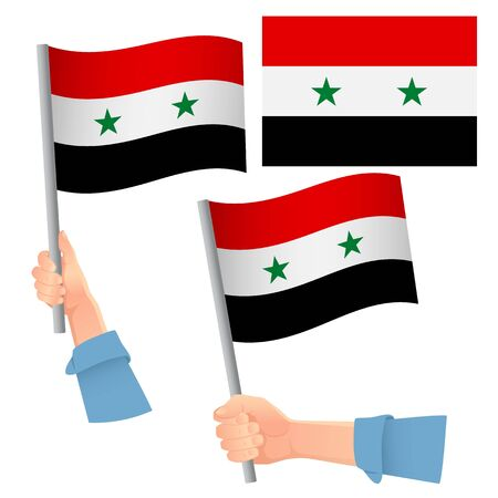Syria flag in hand. Patriotic background. National flag of Syria vector illustration
